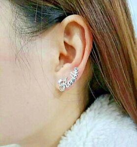 2pcs Personalized Crown Stud Earrings Custom Name Stainless Steel Jewelry Gift
