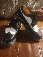 Leather Dr. Martens Men's Size 8 Women's Size 10 Black White Oxfords England Doc