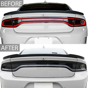 Fit 15-21 Dodge Charger Rear Racetrack Taillight Precut Smoke Tint Cover Overlay