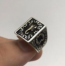 Turkish Jewelry Cool Scorpion Rectangle Motif 925K Sterling Silver Men's Ring