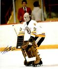 Signed 8x10 GERRY CHEEVERS Boston Bruins Photo - COA