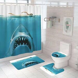Jaws Bathroom Rug Set Shower Curtain Non Slip Toilet Lid Cover Bath Mat