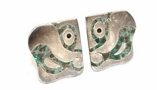Vtg TAXCO Modernist SIGNED Sterling Silver PARROT Cufflinks w. Soapstone Inlay
