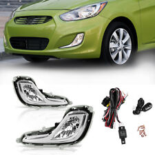 for 12-16 Hyundai Accent Chrome Clear Fog Light Front Bumper Lamps+Switch+Wiring