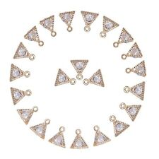 100pcs Triangle Alloy Cubic Zirconia Charms Gold Dangle Pendant Findings 11x9mm