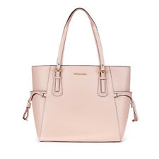 Michael Kors Small Voyager Textured Crossgrain Leather Tote- Soft Pink