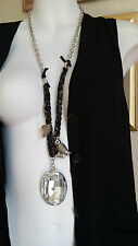 Long Lagenlook Vintage Hippy  Matel Charm Statement Necklace Crystal Pendant