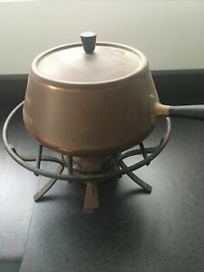 vintage copper fondue set Made By Spring  switzerland