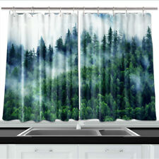 "Misty Fir Forest Kitchen Curtains 2 Panel Set Decor Window Drapes 55 X 39"""