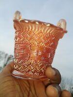 Antique Vintage FENTON Carnival Gold Glass Easter Basket Flower Vase ❤️ ts17j