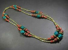N4658 LONG TIBETAN Tribal Resin Glass Gypsy FASHION NECKLACE Handmade Jewelry