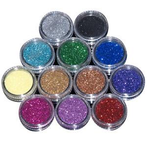 12 Colours Glitter Dust Powder Set for Nail Art Tips GEL Decoration Crafts DIY