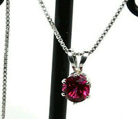 GLAMOROUS* Ruby Synthetic 5MM Round Faceted PENDANT .925 S/S 18 inch CHAIN  NEW!