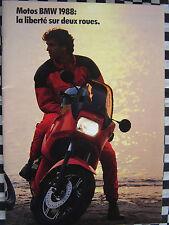 brochure MOTOS BMW 1988 R 100 RS GS K 100 LT RT 75 80 couleurs français