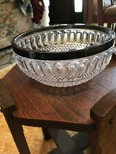 Genuine Lead Crystal Bowl with Silver Rim Made in West Germany