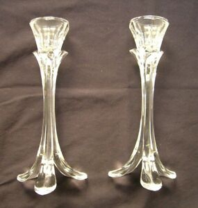 """8.5"""" Candlesticks Holders Clear Glass Set of 2"""