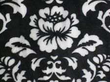 BLACK WHITE DAMASK ROSES KAUFMAN MINKY FABRIC CUDDLE SEW QUILT BABY CRAFT BTY