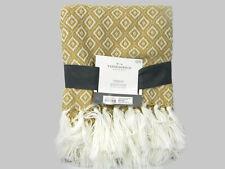 Threshold Throw Blanket Gold White Knitted Diamonds Tassles 50 x 60 New