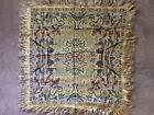 Square multi-colored scene tapestry w/gold fringe, made in Italy, 36 in