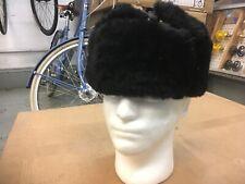 Soviet Winter Sailor's hat ,ear flaps ;Sheepskin,wool top;Small size 56.Black