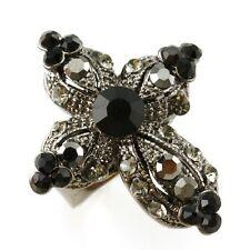 New Black Royal Cross Rhineston Crystal Rhinestone Ring