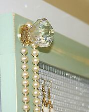 Large jewelry organizer wall mount vintage pale jade necklaces earrings new