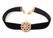 Halsband Kropfband Trachtenschmuck mit Strassanhänger auf Samtband - Unikat