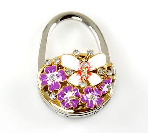 "Stylish Foldable Handbag Holder ""Flower & Butterfly"" Mirror Locket Purse Hook"