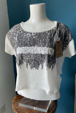 Patrizia Pepe Short Sleeve Sequin White Cropped T-shirt Small