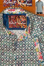 ROBERT GRAHAM Cholas Diamond Jaquard Silk Blend Shirt S/S Flip Sleeve EC L  men