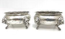 New listing Pair of 1850s Gorham Coin Silver Lion Head Salt Cellars 1855-1860 Nr