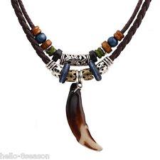 HELLO Ethnic Men's Wolf Fang Imitation Pendant Necklace Men  Jewelry Gift