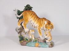 Tiger mit Baby auf Felsen Katze Tierfigur Skulptur Deko Tier Figur Statue Löwe