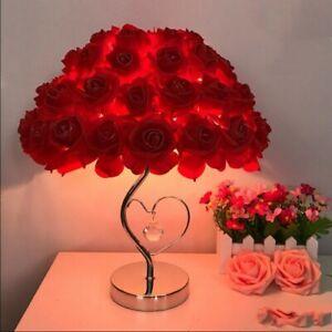 New Modern Colorful Rose LED Table Lamp Loving Heart Desk Light Bedroom Lighting