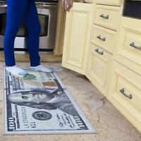 100 Dollar Bill Rug Nonslip Area Runner Decorative Kitchen Hallway Floor Mat New