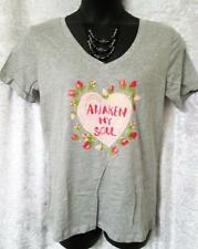 DELIA'S V NECK T SHIRT*TOP HEART PLUS SZ XL AWAKEN MY SOUL GRAY NWOT