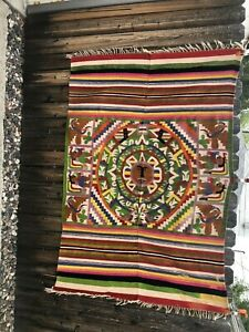 """Vintage Hand Woven Very Unique Mexican Blanket Rug 78""""X 54"""""""