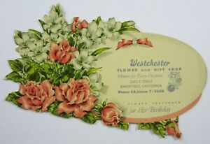 Vtg Florist Advertising Blotter Card Die Cut FTD Westchester Bakersfield CA 1950