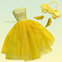 Eledoll Dress Yellow Classic Vintage Style Shoes Purse Fashion Pack Fits Barbie