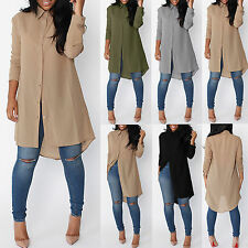 Womens Chiffon Blouse Tops Long Sleeve Thin SummerShirt Dress Loose Casual Dress