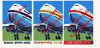 Qantas Airways, Virgin Atlantic, British Airways BOAC Boeing B747 Print & Canvas