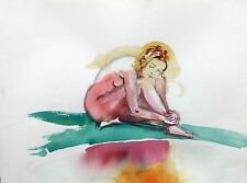 Watercolor Nude Female Figure  by Artist Keith Gunderson
