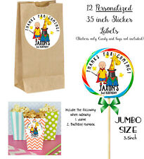 12  Caillou Personalize JUMBO STICKERS for Lollipops, goody bags birthday party
