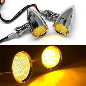 4x Chrome Bullet Motorbike LED Turn Signals Amber Light Running Brake Tail Light
