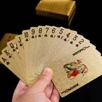 Neue Luxus Gold Poker Deck Wasserdicht 3D Spielkarten Sammlung Party Geschenk