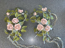 """Gorgeous Pair Vintage Italian Toleware Pink Rose Electric Wall Sconces 18""""x12"""""""
