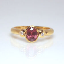 New Gorgeous 18ct Gold Purple Red Ruby & Diamond Ring with valuation $2,505