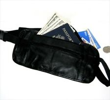 Black Leather Fanny Pack Waist Bag Money Belt Holder Travel Sport Men Women