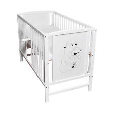 Babybett Gitterbett Kinderbett 120x60 Weiß Bär Motiv  mit Matratze NEU
