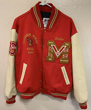 Varsity High School Letterman Jacket Red Beige Leather Large Size 5 Made In USA
